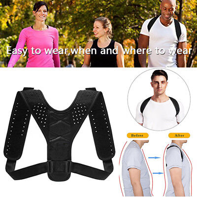 New Body Wellness Posture Corrector Lumbar Belt Back Shoulder Brace Unisex UK DR
