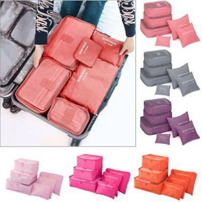 6 Pcs/set Waterproof Travel Clothes Storage Bags Luggage Organizer Pouch Packing