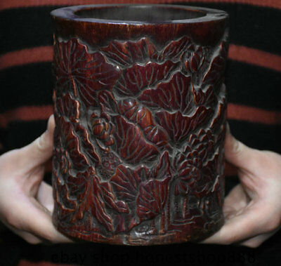 """6"""" Old Chinese Red Wood Hand Carved Dynasty Lotus Leaf Brush Pot Pencil Vase"""