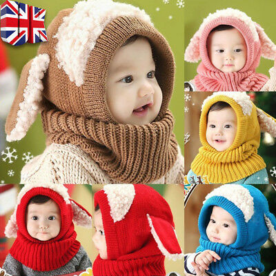 Girl Boys Winter Beanie Warm Hat Hooded Scarf Earflap Knitted Baby Toddler Cap Y