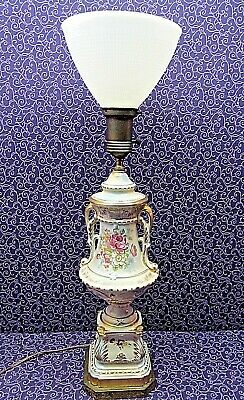Antique Victorian Hand Painted Porcelain Floral Table Parlor Lamp W/ Glass Shade