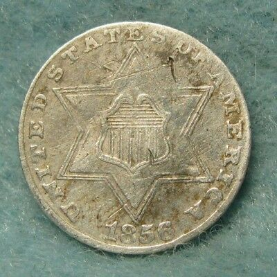 1856 THREE CENT SILVER VF Details * US Coin