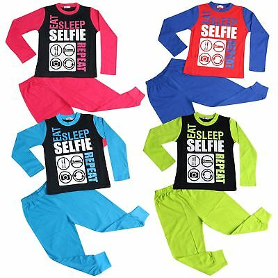 Kids Girls Boys Designer Eat Sleep Selfie Repeat Pajamas Lounge Wear PJS 2-13 Yr