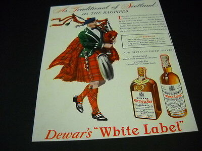DEWAR'S White Label Traditional As Bagpipes Of Scotland 1946 original mag advert