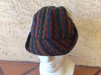 Vintage Antique 1950s 1960s Wool and Mesh Old School Hunting Camp Cap Hat 7 1/8