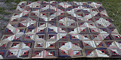 "Spectacular 19th C cotton hand sewn Log Cabin Quilt, 76"" x 69""  *"