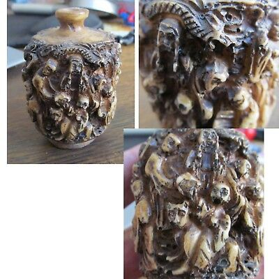 Unusual Vintage Heavily Carved Snuff Bottle Many Figures Monks ? Snake