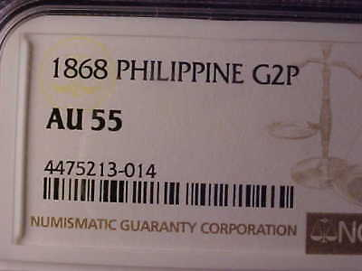 Philippines Gold Two Pesos 1868 Ngc Au 55