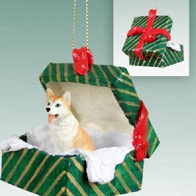 HUSKY RED blue eyes Christmas GREEN GIFT BOX Ornament HAND PAINTED FIGURINE dog