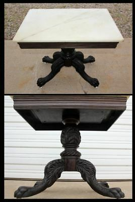 Victorian Marble Top Clawfoot Walnut Rose Wood Pedestal Parlor Table Antique OLD