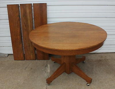 """Antique Mission Oak Round Table 45"""" Diameter +3 Leaves Dining Room Kitchen Cabin"""