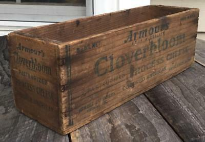 Prim Vtg Armours Cloverbloom Advertising Wood 5 Lb Process American Cheese Box