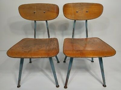 """Vintage Youth Chairs 24"""" MID-Century LOT Childs Wood Primary School Desk Rustic"""