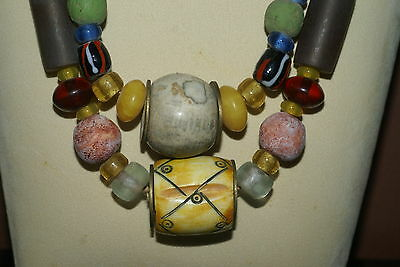 Old Borneo Rare Tribal Ethnic Dayak Iban Tribe Necklace Glass Beads Shell Stone-