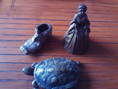 Collection of 3 Vintage Brass Items, Miniature Boot, Hinged Tortoise and Bell