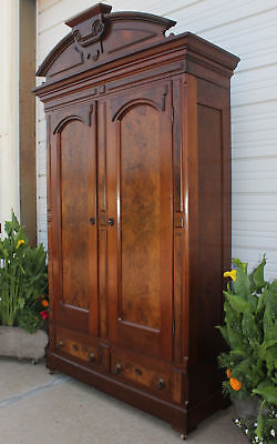 Huge Victorian Burled Walnut 1800's Armoire 2 Door Wardrobe Closet Knapp Joinery