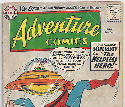 DC Comics Adventure Comics #264 Superboy vs Spaceboy from Sept. 1959 in G/VG con