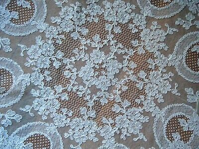 """Antique Alencon lace Tablecloth round shape Made in France 26"""" diam.beauty #2"""