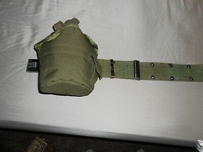 Vintage US Army Web Belt with Pouch & Canteen in Case Unmarked.