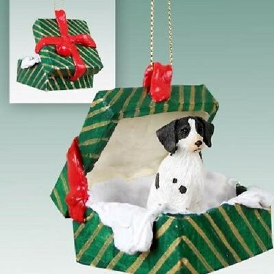 BRITTANY Christmas GREEN GIFT BOX Ornament HAND PAINTED FIGURINE Liver Brown Dog