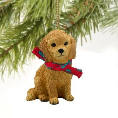 GOLDEN DOODLE dog HAND PAINTED ORNAMENT Figurine puppy Christmas COLLECTIBLE