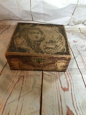 Vintage Pyrography Folk Art Burned Burnt Wood Jewelry Trinket Box Flemish (A020