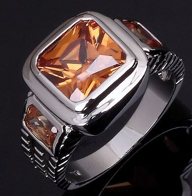 Size 8-12 Mens Champagne Topaz 18K Gold Filled Wedding Party Fashion Ring Gift
