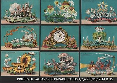 1908 Priests of Pallas Parade KC MO 9 Postcards Floats