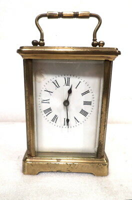 French Brass 8 Day Porcelain Dial Carriage Clock--Circa 1895