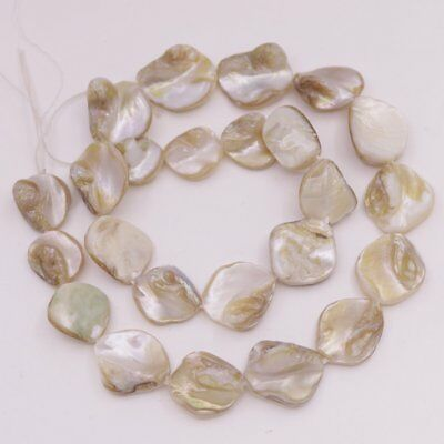 12mm-19mm Freeform Shell Natural White Mother of Pearl Loose Beads 15 inches