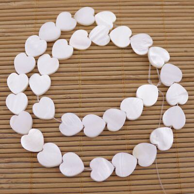 12mm Heart  Natural White Mother of Pearl Loose Beads 15 inches Jewelry Making