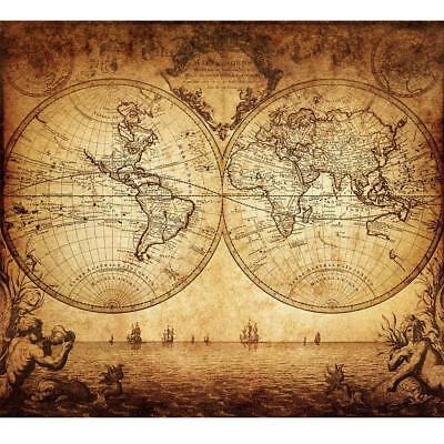 Vintage Poster Print Art Old the World Map of Global Nautical Sailing Ship Decor