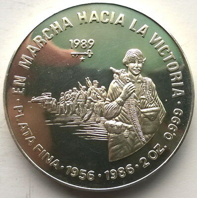 1989  March To Victory 20 Pesos 2oz Silver Coin,Proof,Rare