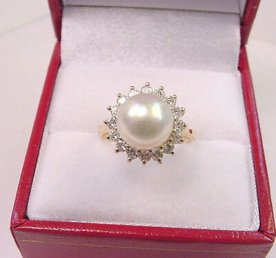 CULTURED AKOYA PEARL SILVER WHITE 8.70 mm. w/ .48 TCW DIAMONDS 14K GOLD RING