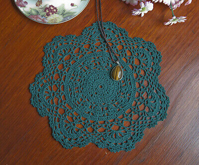 Chic Cotton Hand Crochet Lace Doily Doilies Mat Placemat Round 25CM Green