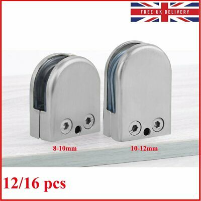 12/16pc 8-10mm 10-12mm 304 Stainless Steel Glass Clamps Clip for Stair Window