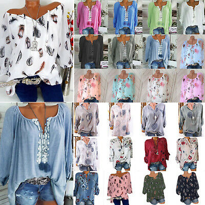 AU Womens Plus Size V Neck Floral Blouse Summer Casual Long Sleeve Tops T Shirt