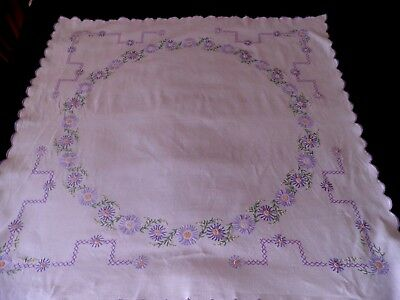 "VINTAGE HAND EMBROIDERED LINEN TABLE CLOTH  - LILAC FLOWERS - 40"" by 40"""