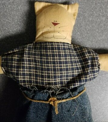 Vintage Stuffed Kitty Kitten Cat Hand Made Blue Jeans Pants