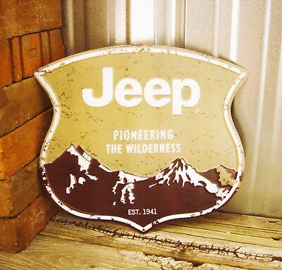 Jeep Wilderness Wrangler CJ Willys 1941 Embossed Metal Tin Sign Vintage Garage