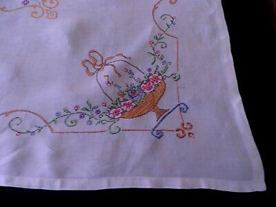 """VINTAGE TABLE CLOTH HAND EMBROIDERED CROSS STITCH  48"""" by 48""""  - BASKETS FLOWERS"""