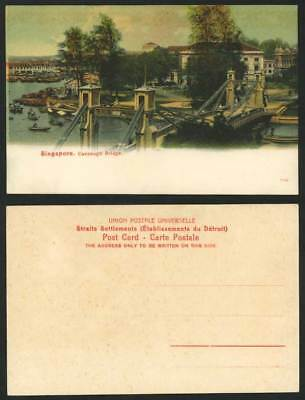 Singapore Old Postcard Cavenagh Bridge, Sampans Boats, Harbour Street Scene Quay