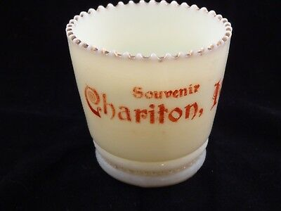Vintage Custard glass Chariton Iowa IA Souvenir toothpick holder.