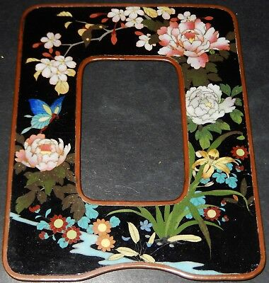 Beautiful Antique Japanese Silver Wire Cloisonne Bronze Frame; Meiji c1890