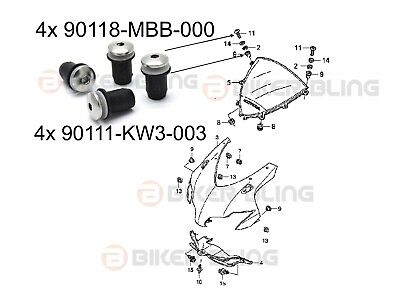 Honda CBR1000RR 2008-2009 stainless steel screen bolts and rubber well nuts kit