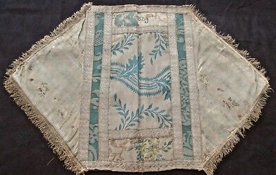 antique brocade runners: blues w tan, several very old patterns, fringed edges