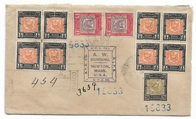 1906 Certified Cover Dominican Republic To AW Dunning Newton Ma USA 11 Stamps