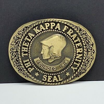 Belt Buckle vintage solid brass ADM phi theta kappa fraternity seal 1918 founded