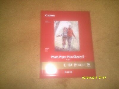 """CANON Photo Paper Plus Glossy II (8.5"""" x 11"""") 20 Sheets (SEALED In Package)"""