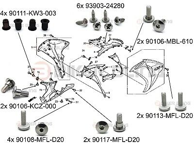Honda CBR1000RR 2010-2011 S/S front fairing shouldered bolts rubber well nuts